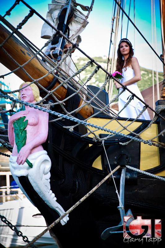Bridal Fashion shoot on board HMS Pickle in Gibraltar Marina