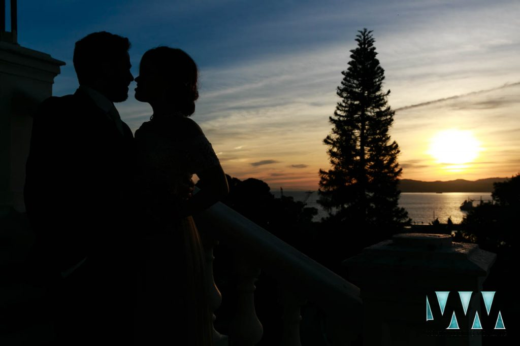 Bride and Groom silhouette shot overlooking the bay of Gibraltar