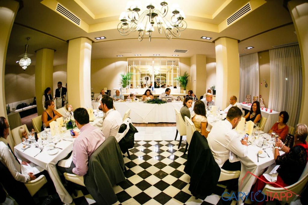 Bride and groom wedding breakfast at the Rock Hotel Gibraltar restaurant