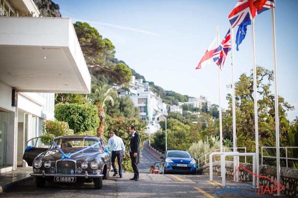 Wedding car outside the Rock Hotel Gibraltar