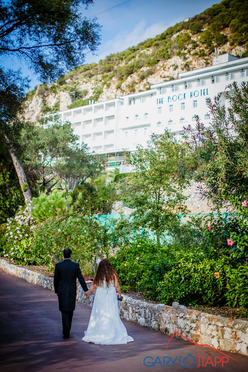the rock hotel gibraltar wedding view back to the hotel from the gardens