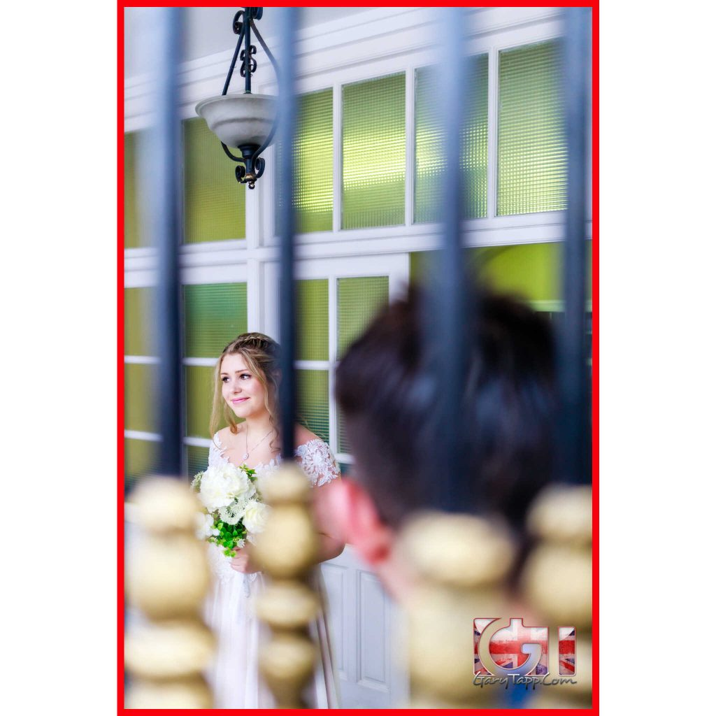 Bride outside the Registry Office wedding Gibraltar at Secretary Lane