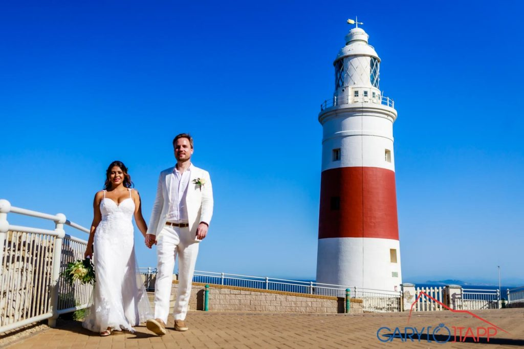 Gibraltar wedding at the lighthouse at Europa point Gibraltar