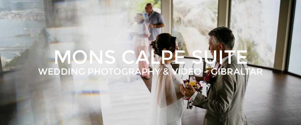Bride and Groom in Mons Calpe Suite wedding venue in Gibraltar