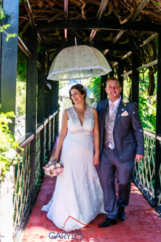 Wedding couple on the bridge The Botanical Gardens Gibraltar