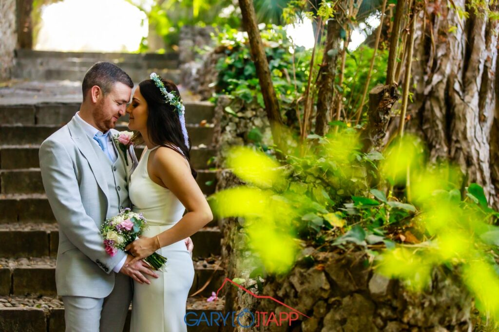 The Botanical Gardens Gibraltar Wedding pose