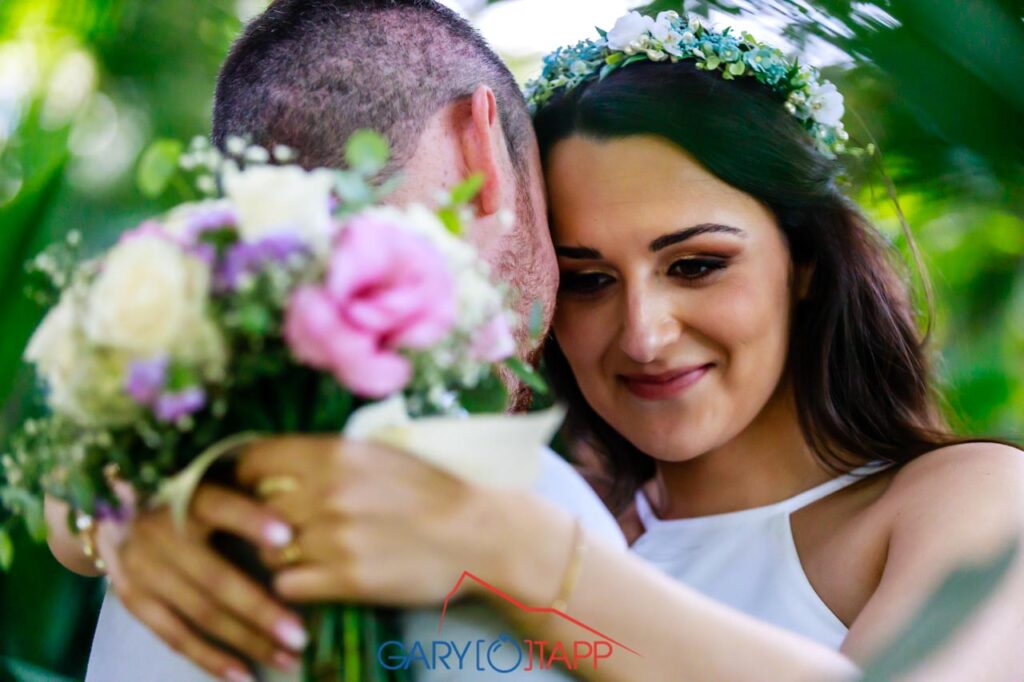 Happy bride in The Botanical Gardens Gibraltar