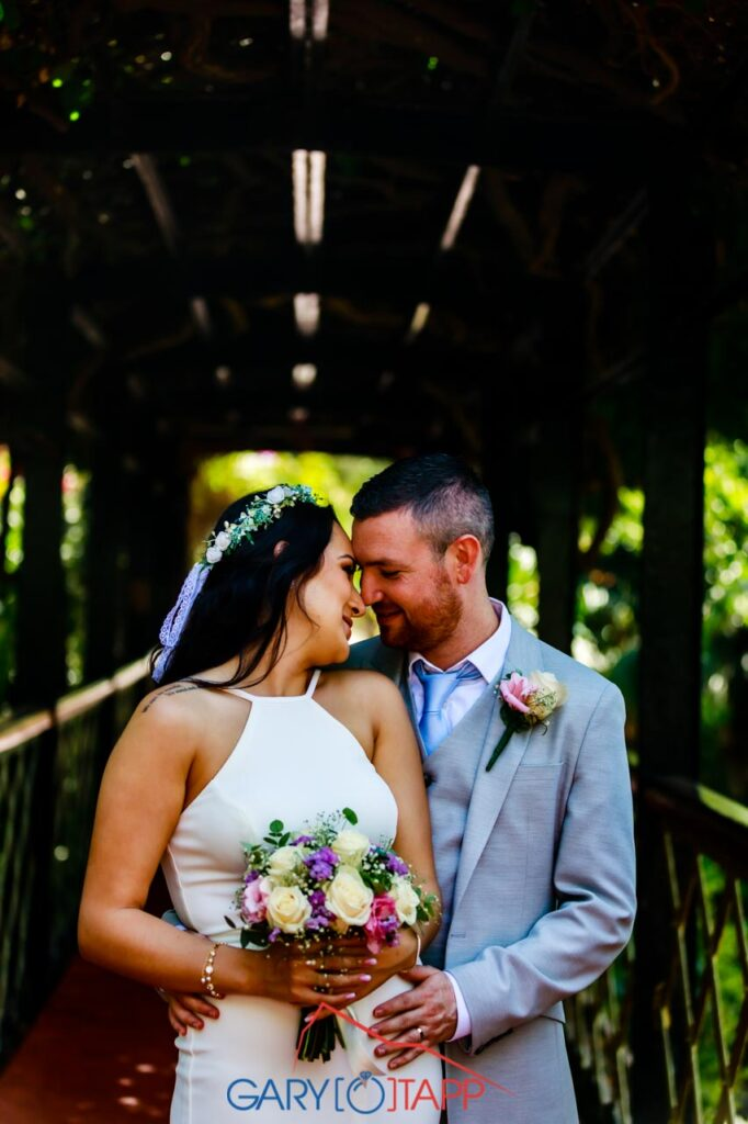 Newly weds in The Botanical Gardens Gibraltar Wedding