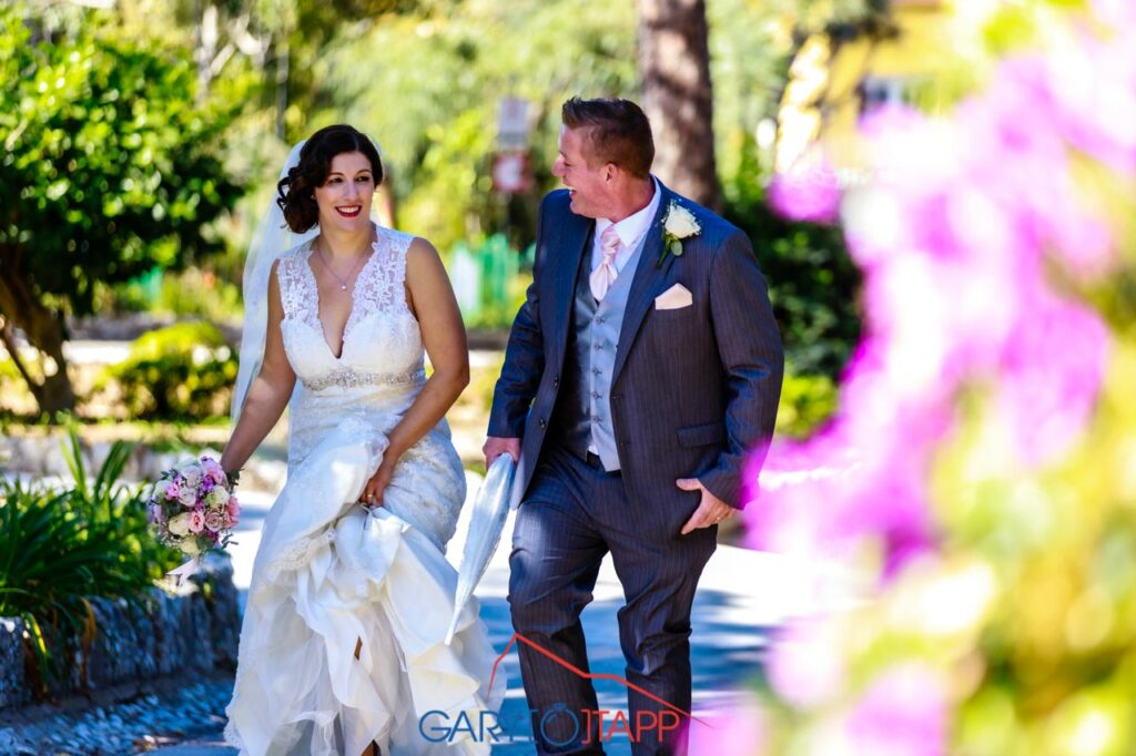 The Botanical Gardens Gibraltar Wedding bride and groom