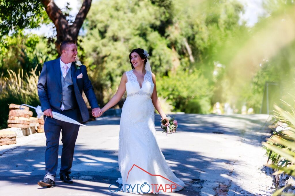 Walking in the The Botanical Gardens Gibraltar Wedding