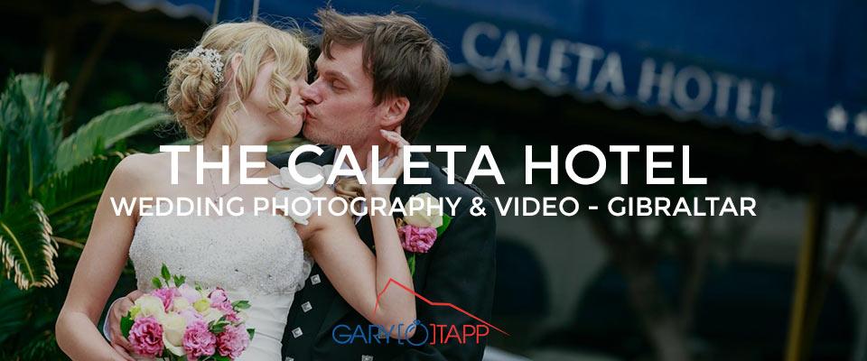 Bride and Groom outside The Caleta Hotel wedding venue in Gibraltar