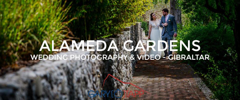 Bride and Groom walking through the Alameda Gardens Gibraltar weddings area